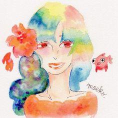 キャプション→なかよし!せいかさんに贈ります♪好きな金魚も描きました〜 。゜⋆。゜⋆ #なかよし #グラデーション #ほんわか #水彩 #watercolor #instagram #かわいい #桜 #えんぴつ #illustration #insta #color #楽しい #girl ユーザー→moekokurotaki 場所→