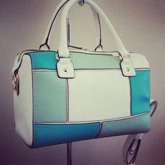 Blue color block Bag www.LesliesHandbags.Net