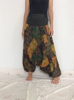 Super Patchworks Hippie Harem Pants, Yoga Pants, Drop Crotch Pants, Baggy Pants with Om patterned (HR-521) by ThaiFascinate on Etsy