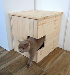 Corner Litter Box Cover Pet House Cat Litter Box by PinkBau