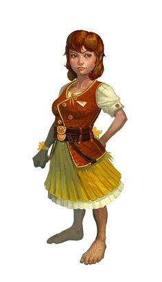 Halfling Female Commoner - Pathfinder PFRPG DND D&D d20 fantasy