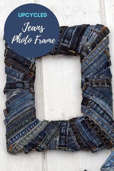 How to make repurposed denim photo frames two ways. One using the old belt loops from jeans and the other with the denim seams. Both are no-sew denim upcycles. Denim Scraps, Reuse Clothes, Cheap Office Decor, Upcycled Crafts, Upcycled Clothing, Recycled Fabric, Recycled Art, Recycle Jeans, Old Jeans