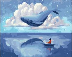 RIHE Whale Flying Painting By Numbers Animal Oil Painting On Canvas Hand Painted Swan Cuadros Decoracion Acrylic Paint Wall Art Whale Painting, Oil Painting On Canvas, Whale Art, Paint By Number Kits, Sky Art, Blue Whale, Painting Process, Fantasy Art, Illustration Art