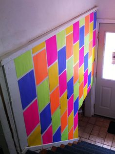 Paint your wall, without paint. and stapling colored copy paper to the wall looks so classy when you& not a grade school teacher in 2020 Neon Crafts, Diy Crafts, Colored Copy Paper, Diy Wall, Wall Decor, Room Decor, Wall Art, Blacklight Party, Neon Party