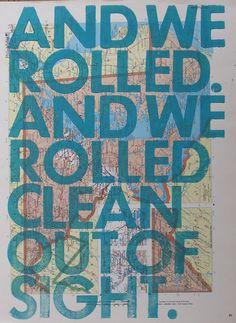 Amy Rice letterpress printed on vintage map