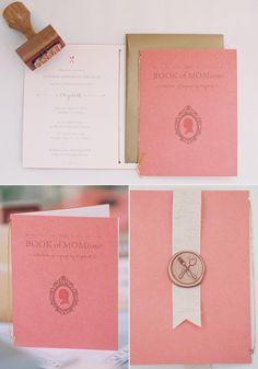 Library-Themed Birthday Brunch Invitation by Akula Kreative // Photos by Caroline Tran // papaya, blush, gold
