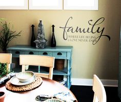 Thinking about a wall decal with a quote or saying. How about this? Family Where Life Begins Wall Decals