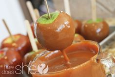 Homemade caramel apples.