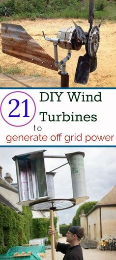 21 DIY Wind turbine designs to harness wind energy into electricity. A DIY wind turbine is an easy and inexpensive way to convert wind power into electricity. Renewable Energy, Solar Energy, Solar Power, Wind Power Generator, Diy Solar, Off The Grid, Solar Panels, Just In Case, Electrical Energy