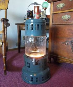 Vintage Perfection Kerosene Oil Heater with Glass Globe Kerosene Heater, Kerosene Lamp, Propane Heating Stove, Diy Heater, Stove Oven, Stove Fireplace, Milk Cans, Vintage Lamps, Glass Globe
