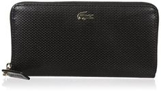 Lacoste Chantaco Large Zip Wallet, Black, One Size -- Want additional info? Click on the image.