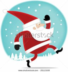 stock vector : Illustration Happy Santa walking on the snow