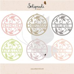 Christmas Words  Ornaments  Bundle // 6 Ornaments // Ho Ho Ho // Christmas // Believe // Joy & Love // Peace // Noel // DXF // SVG Cut Files by SolipandiDesigns