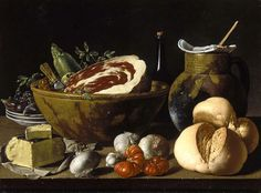 Luis Meléndez, Still Life with Bread, Ham, Cheese, and Vegetables about 1772 on ArtStack #luis-melendez #art