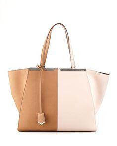 Minimal Luxury // neutral bag - Fendi Trois-Jour Leather Tote Bag, Brown/Pink - Bergdorf Goodman