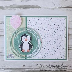Small Balloons, Pink Balloons, The Balloon, Penguin Party, Cute Penguins, Balloon Bouquet, Stamping Up Cards, Cute Cards, Animal Cards