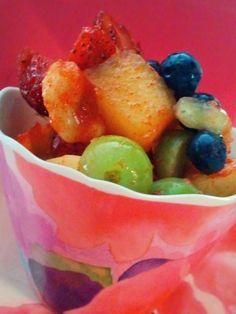 Frozen Fruit Cup! Lemonade Crystal Light Sprinkled on Top!