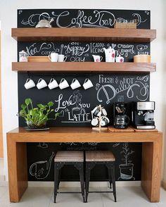 coffee bar ideas - Coffee Bar Ideas - Looking for some coffee bar ideas? Here you'll find home coffee bar, DIY coffee bar, and kitchen coffee station. Coffee Bar Design, Coffee Bar Home, Home Coffee Stations, Coffee Bars, Coffee Menu, Coffee Tables, Ninja Coffee, Cheap Coffee, Home Bars