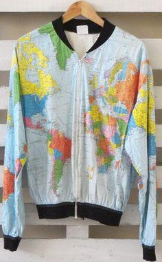 World map paper jacket wearin the world map cream white large 80s amazing vintage map jacket gumiabroncs Choice Image