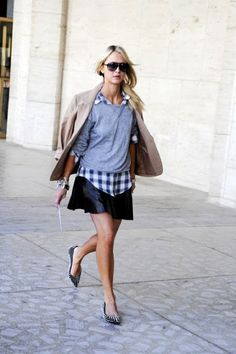 Check Shirt, Skirt and Jumper | Street Style