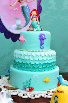 Mermaid birthday party cake! See more party ideas at CatchMyParty.com!