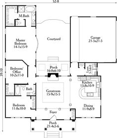 small u shaped house plans | First Floor Plan of House Plan 40027 by jana