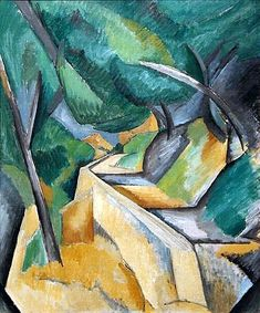 Road near Estaque, 1908 by Georges Braque. Museum of Modern Art (MoMA), New York City, NY, US Pablo Picasso, Picasso And Braque, Henri Matisse, Alberto Giacometti, Rene Magritte, Georges Braque Cubism, André Derain, Oil Canvas, Francis Picabia