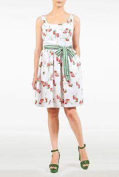 I <3 this Floral print embellished sash tie dress from eShakti