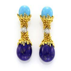 Pair of turquoise and lapis lazuli earrings, Paris circa 1960