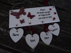 ALL THAT we are, or hope to be, we owe to you. Personalised with up to five children's names by KatijanesCreations on Etsy Butterfly Decorations, Wooden Plaques, Hessian, Wall Hanger, Handmade Wooden, Kid Names, Custom Paint, I Am Happy, Twine