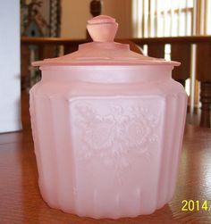 Vintage Satin Frosted Pink Depression Mayfair Open Rose Glass Cookie Biscuit Jar