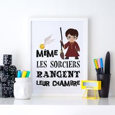 Discovery on Etsy, a caricature poster of Harry Potter. Poster Harry Potter, Décoration Harry Potter, Room Posters, Quote Posters, Harry Potter Francais, Harry Potter Enfants, Magic Decorations, Harry Potter Bricolage, Anniversaire Harry Potter