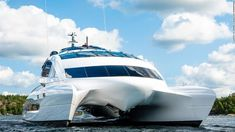 Porsche-Designed Superyacht, Royal Falcon One, Hits the Market - The catamaran features space-age modernism and above-deck sleeping accommodations Monaco Yacht Show, New Porsche, Guest Cabin, Queenslander, Yacht For Sale, Mansions For Sale, Yacht Design, Super Yachts, Porsche Design