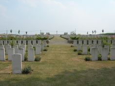 The village of Passchendaele & surrounding area were associated with every phase of WWI. PASSCHENDAELE NEW BRITISH CEMETERY was made after the Armistice when graves were brought in from the battlefields of Passchendaele & Langemarck. Almost all of the burials are from the autumn of 1917. Contains 2101 WWI burials & commemorations. 1600 are unidentified, special memorials to 7 casualties believed to be buried among them.