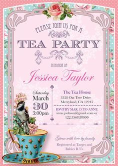 Tea party invitation high tea bridal shower by westminsterpaperco printable high tea party invitation the paper wing creation stopboris Choice Image