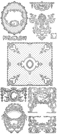 200 Free Vintage Ornaments, Frames and Borders Vintage Frames, Vintage Prints, Vintage Clip, Free Frames And Borders, Calligraphy Borders, Free Graphics, Graphics Fairy, Pattern Texture, Doodle Frames
