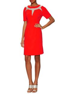 Sheath Dress with Mesh Detail from Spring Designer Dresses on Gilt