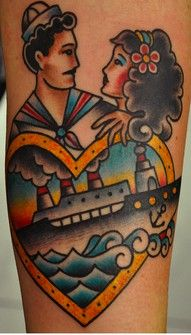 Anyone know who the artist was? | Lovers / ship tattoo | #shiptattoo #sailortattoo #coupletattoo