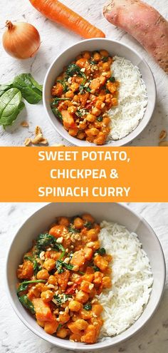 This Sweet Potato, Chickpea and Spinach Curry is a 30 minute one pot wonder! It's perfect for Meatless Monday and is Vegan and Gluten Free. via dinner ideas vegetarian meatless monday Sweet Potato, Chickpea and Spinach Curry Recipe Tasty Vegetarian Recipes, Vegetarian Dinners, Veggie Recipes, Cooking Recipes, Healthy Recipes, Quick Vegetarian Dinner, Healthy Vegetarian Dinner Recipes, Pasta Recipes, Vegan Meals