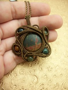 Wire Wrapped Silver Leaf Jasper Pendant with Fancy Jasper in Antique Brass www.SouthernSpoiled.com
