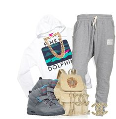 """Pink Dolphin"" Hoodie, Gray Sweatpants, I Think the Shoes Are Supras, Bag, Coco Chanel Earrings"