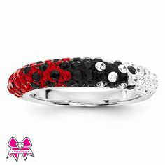 CheerBling Red & Black Team Color Sterling Silver Swarovski Thin Ring