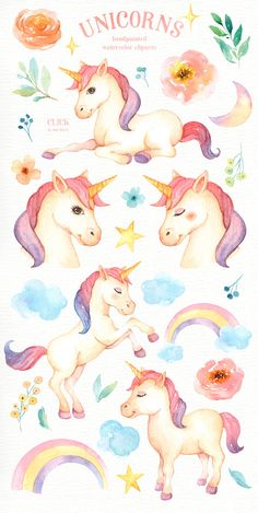 Unicorns Watercolor Clip Art Rainbow Clipart Woodland