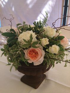 rustic style centerpiece francisflowers. sage,rosemary and peach english roses