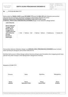 Format Berita Acara Pemusnahan Dokumen K3 (Keselamatan dan Kesehatan Kerja)