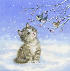 Leading Illustration & Publishing Agency based in London, New York & Marbella. Christmas Scenes, Christmas Cats, Christmas Pictures, Xmas, Vintage Christmas Cards, Vintage Cards, Loro Animal, Cute Animal Illustration, Painted Christmas Ornaments
