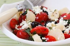 This Hearts of Palm Salad with Tomatoes, Olives, Feta, and Basil Vinaigrette is perfect for a late-summer party! [from KalynsKitchen.com]