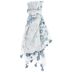 Birch-Dusty Blue Floral Embroidered Scarf ❤ liked on Polyvore featuring accessories and scarves