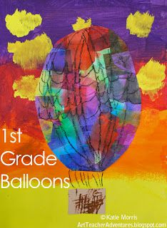 Watercolor + Tissue paper! (maybe use watercolor pencils for a messy class) • Adventures of an Art Teacher: 1st Grade Balloons