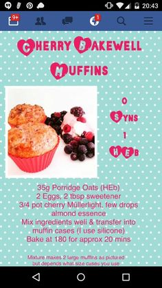 Slimming world cherry bakewell muffins. Slimming World Deserts, Slimming World Puddings, Slimming World Tips, Slimming World Dinners, Slimming World Recipes Syn Free, Slimming Eats, Slimming World Muffins, Slimming World Baked Oats, Slimming World Biscuits